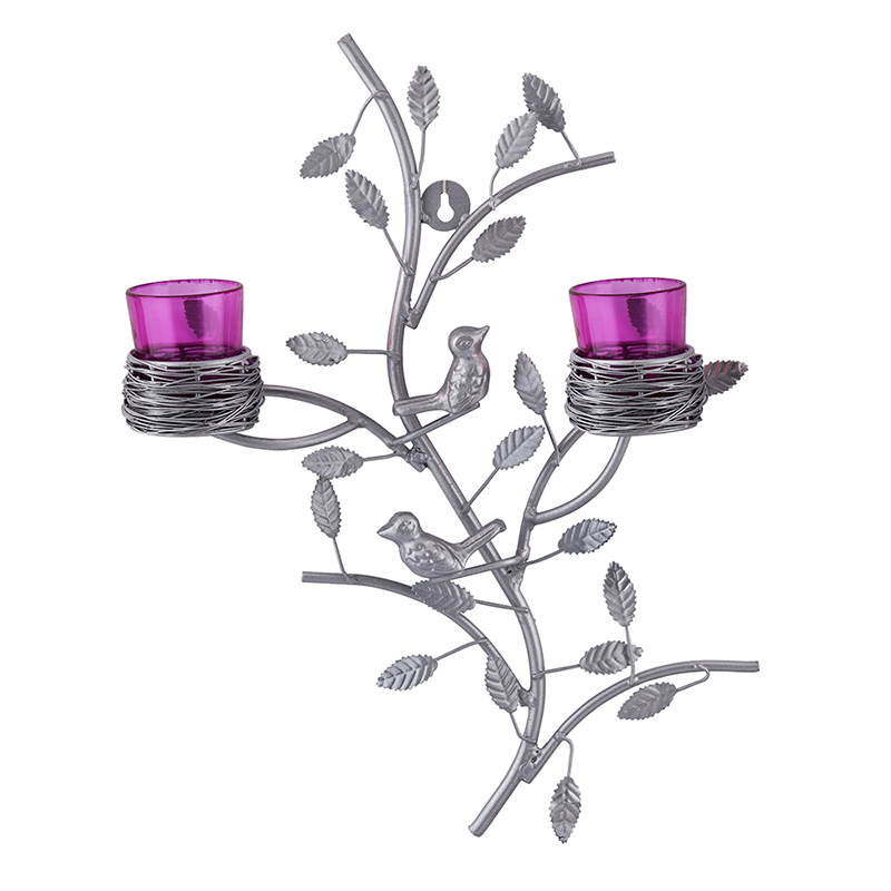 Silver Tree with Bird Nest Votive Stand Pink, Wall Candle Holder and Tealight Candles