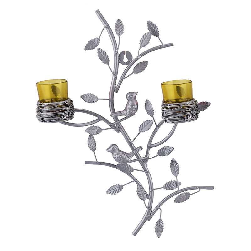 Silver Tree with Bird Nest Votive Stand Yellow, Wall Candle Holder and Tealight Candles