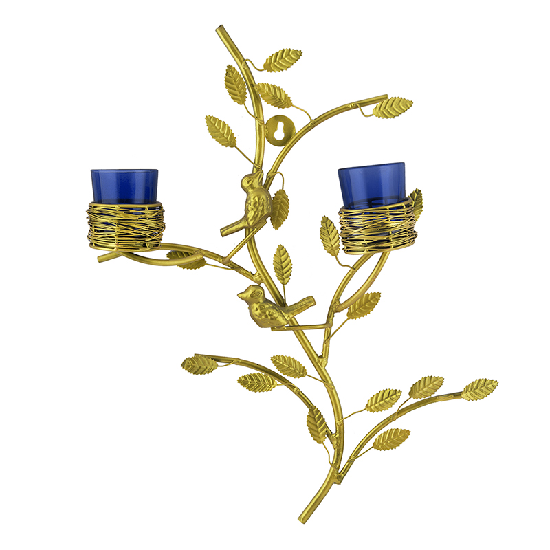 Golden Tree with Bird Nest Votive Stand Blue, Wall Candle Holder and Tealight Candles
