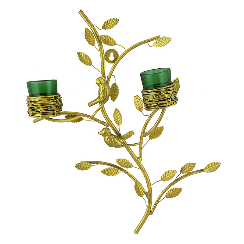 Golden Tree with Bird Nest Votive Stand Green, Wall Candle Holder and Tealight Candles