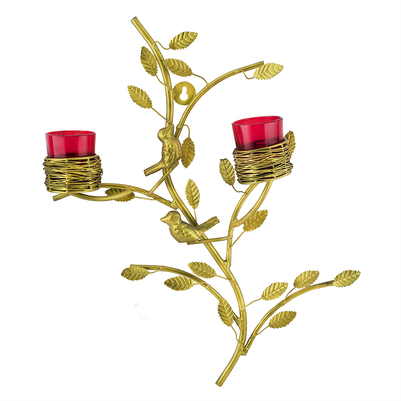 Golden Tree with Bird Nest Votive Stand Red, Wall Candle Holder and Tealight Candles