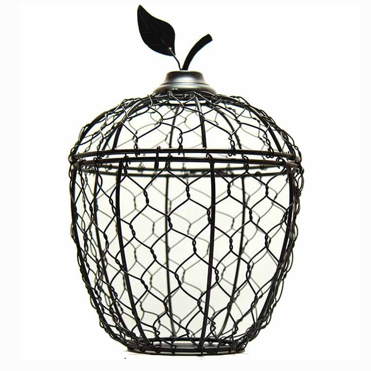 Matt-Black Apple Cage Candle Holder