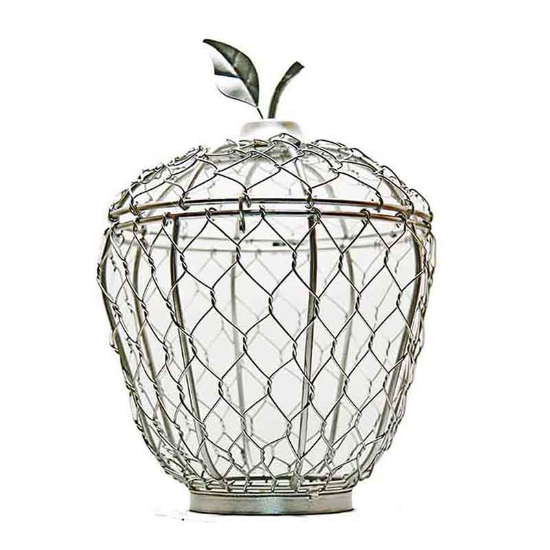 Silver Apple Cage Candle Holder