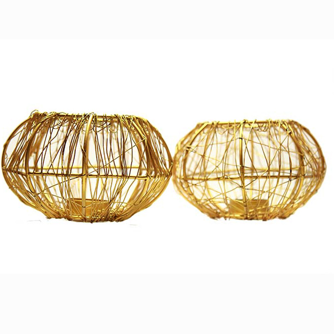 Wire Tangle Golden (Set of 2 Pcs) with T-lights Large, Metal Candle Holder Stand with Free Candle