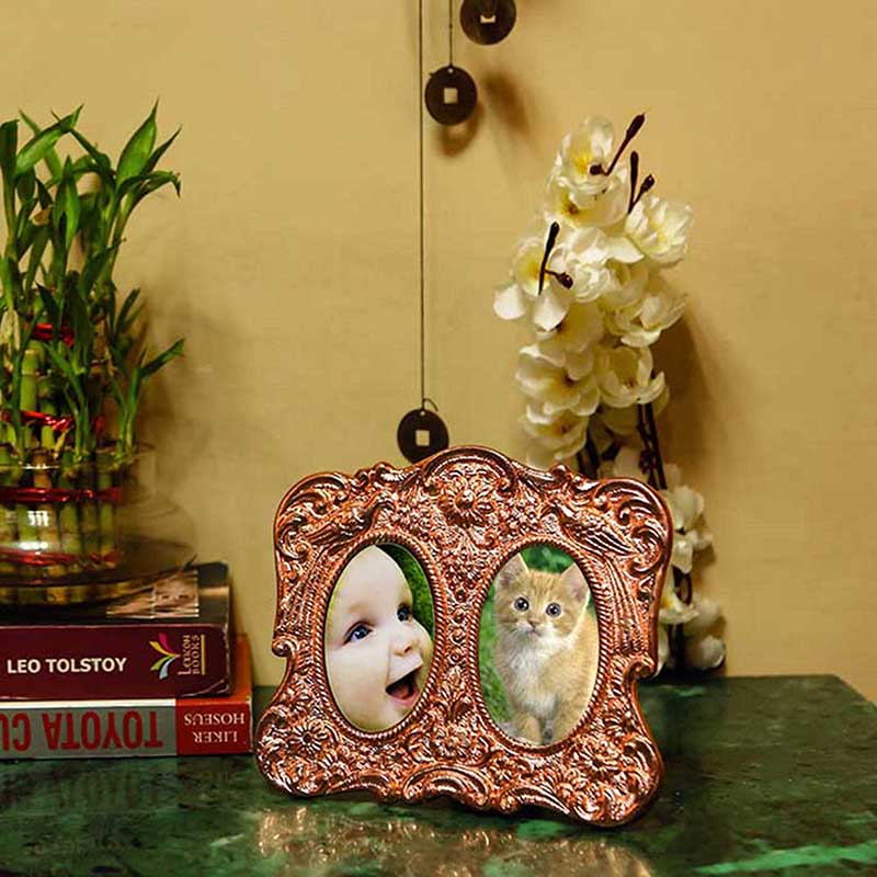 Double Mirror Peacock Photoframe Copper