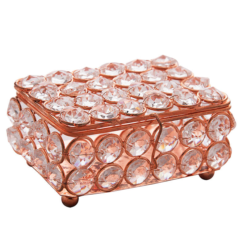 Rectangle Small Crystal Jewellery Box Copper