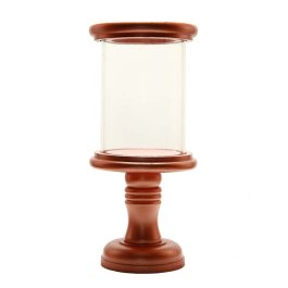Stacked Disk Hurricane Copper Finish Wooden Candle Holder with Glass Chimney