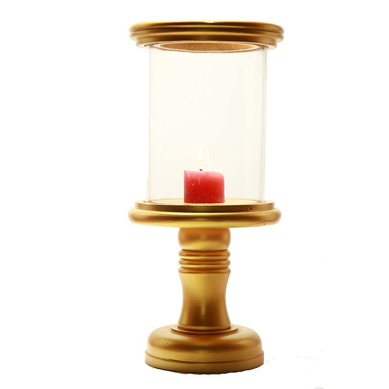Stacked Disk Hurricane Golden Finish Wooden Candle Holder with Glass Chimney