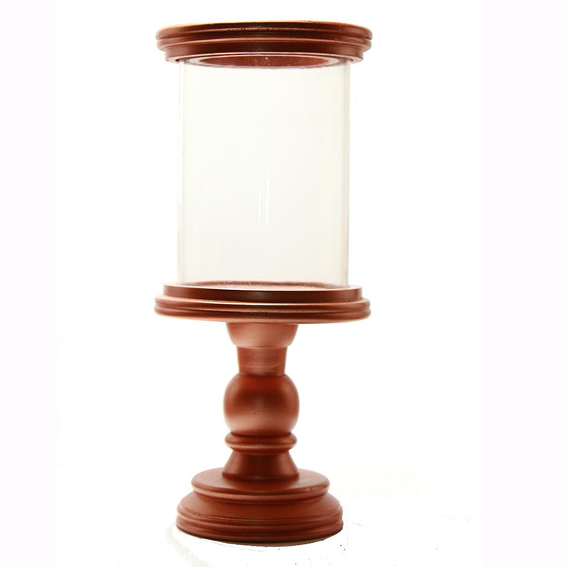 Classic Cubist Hurricane Copper Finish Wooden Candle Holder with Glass Chimney