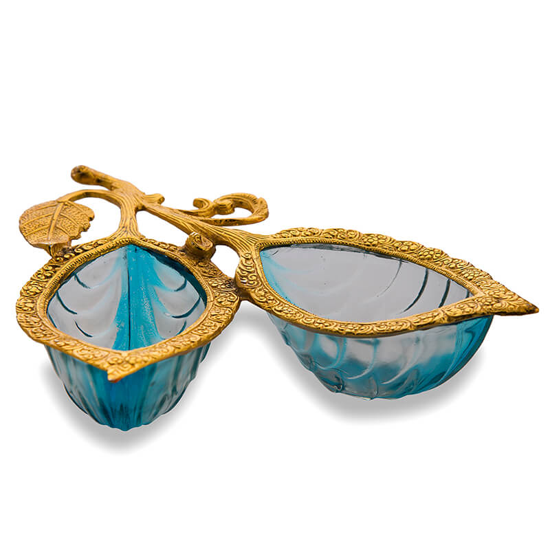 Golden 2 Leaf Glass & Metal Serving Tray, Blue