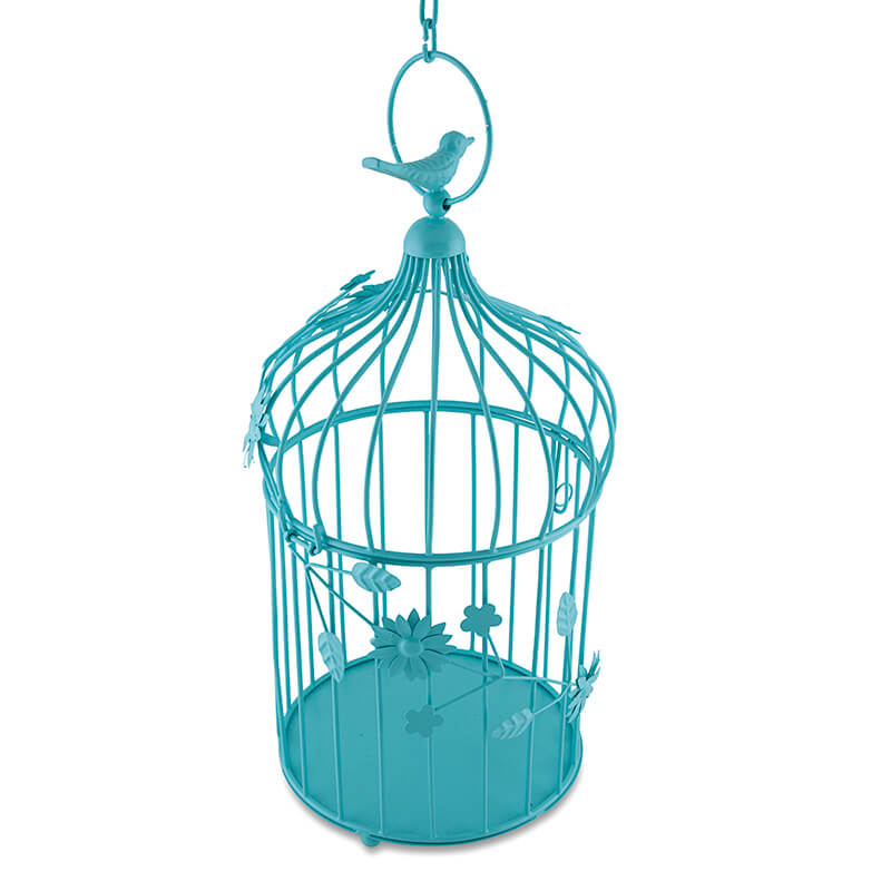 Turquoise Bird Cage with Floral Vine, with Hanging Chain: Large