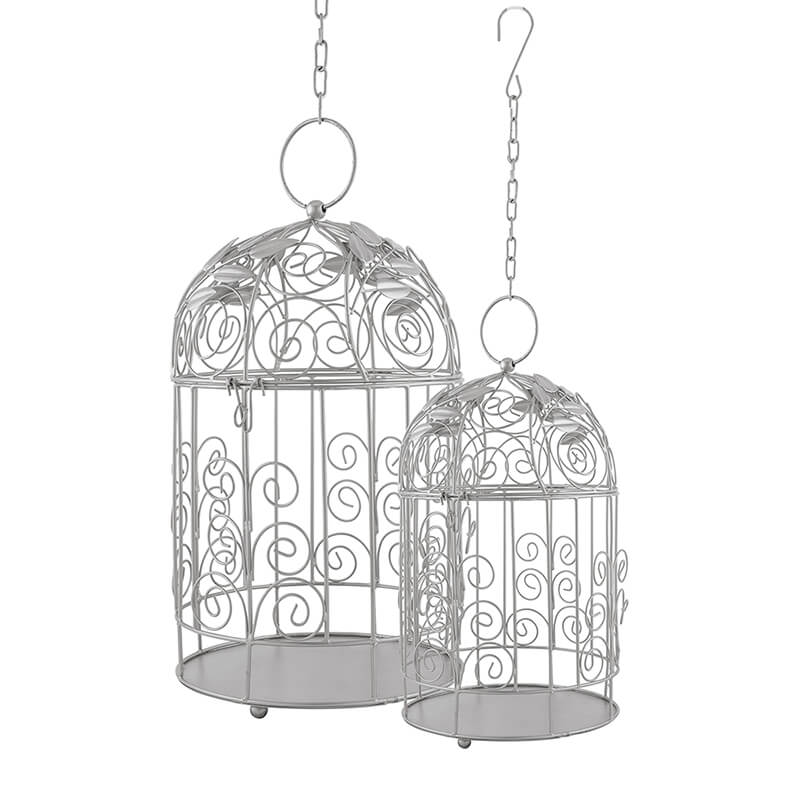 Victorian Silver Bird Cage with Leafy Climber, with Hanging Chain