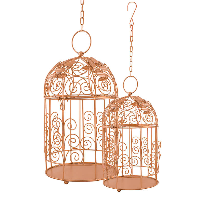 Victorian Copper Bird Cage with Leafy Climber, with Hanging Chain