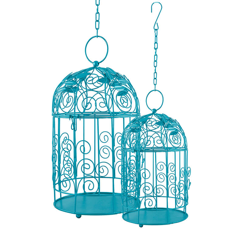 Victorian Turquoise Bird Cage with Leafy Climber, with Hanging Chain