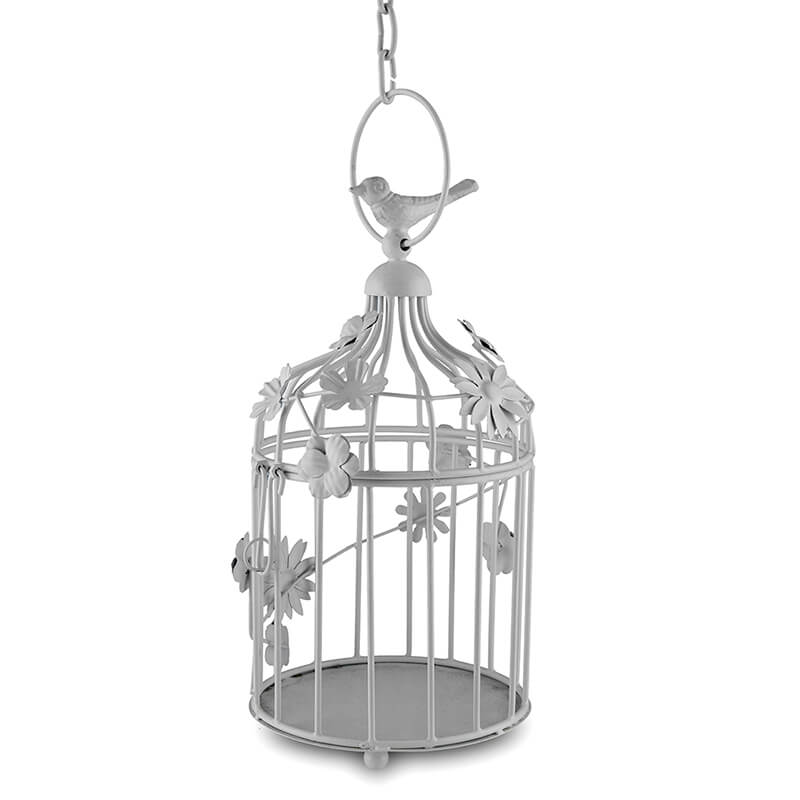 White Bird Cage with Floral Vine Small Single