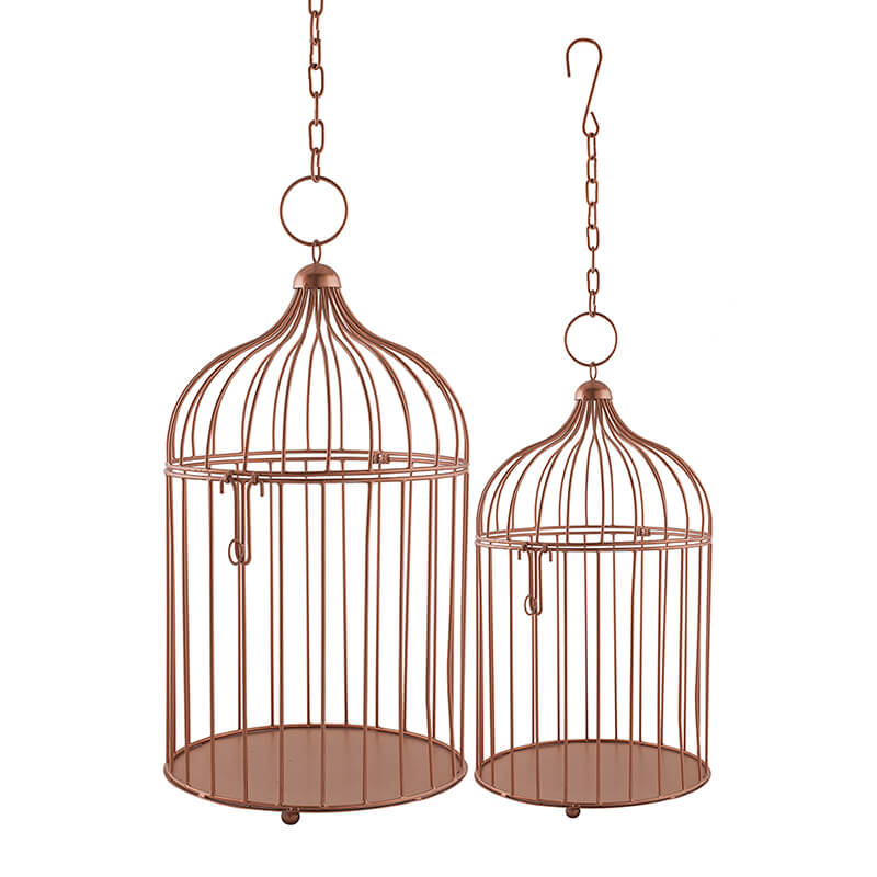 Copper Bird Cage(Set of 2), with Hanging Chain, Rose Gold