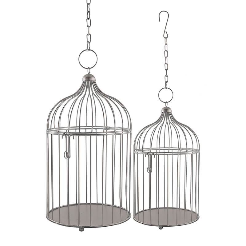 Silver Bird Cage (Set of 2), with Hanging Chain