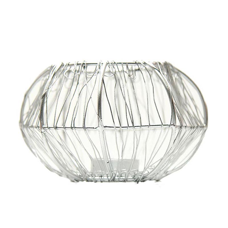 Wire Tangle Silver T-Light Holder Set of 2 Large, Metal Candle Holder Stand with Free Candle