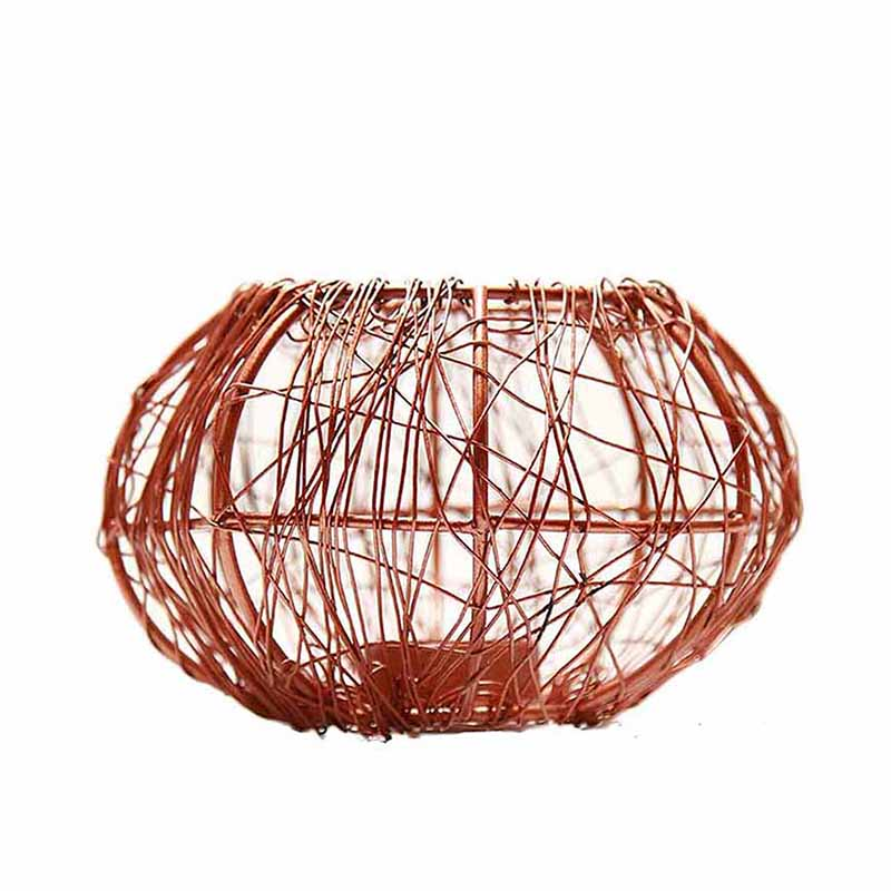 Wire Tangle Copper T-Light Holder Set of 2 Large, Metal Candle Holder Stand with Free Candle