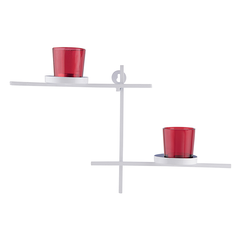 White Scorching Ladder with Pair of Votive Red, Wall Hanging Candle Holder