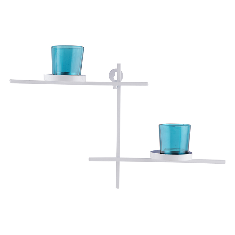 White Scorching Ladder with Pair of Votive Turquoise, Wall Hanging Candle Holder