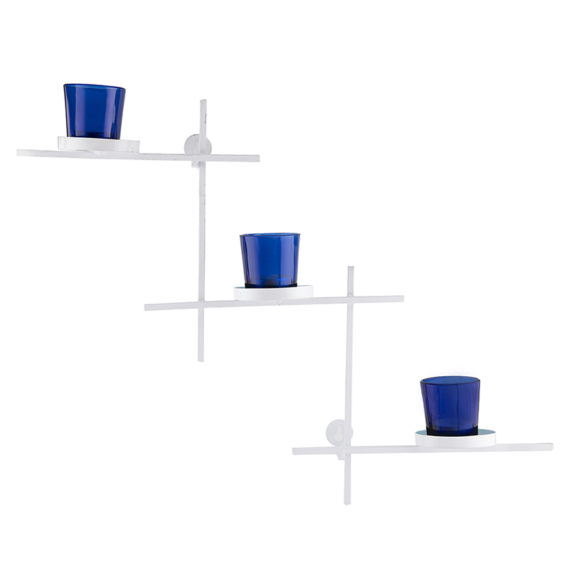 White Scorching Ladder with Three Votive Blue, Wall Hanging Candle Holder