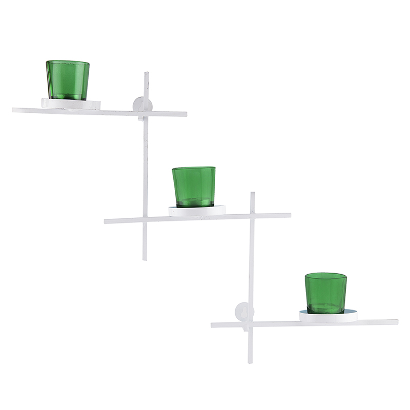 White Scorching Ladder with Three Votive Green, Wall Hanging Candle Holder