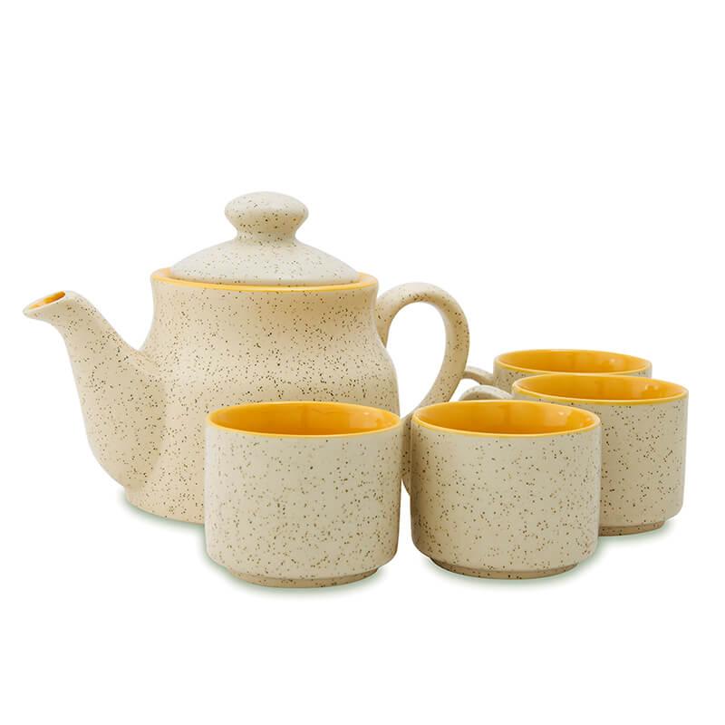Ceramic Tea Pot and cups set, with matt marble finish