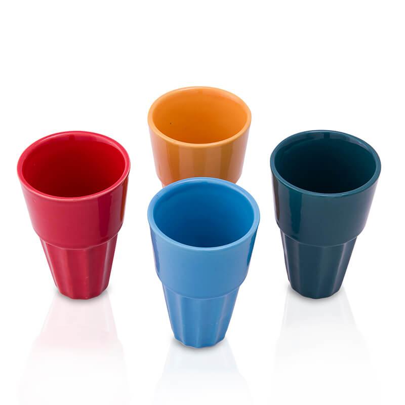 Ceramic Cutting chai Glass, Large (Set of 4)