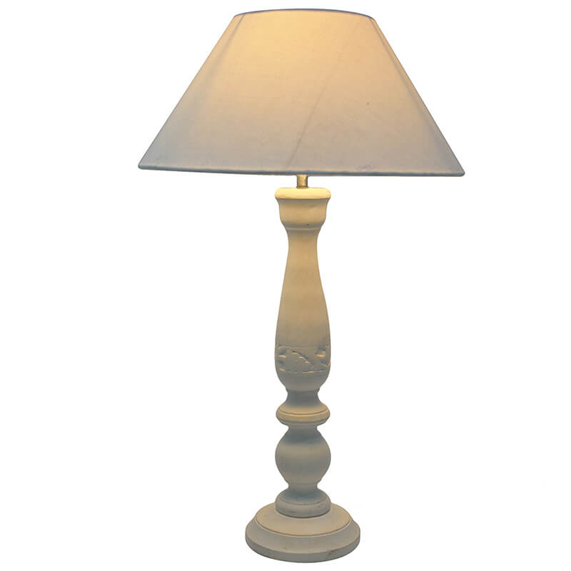 Floral Carved White Wood Table Lamp With White Shade