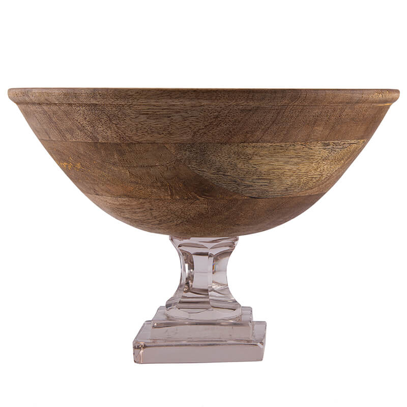 Natural Wood Salad, Fruit Bowl With Glass Stand (10 Inches)