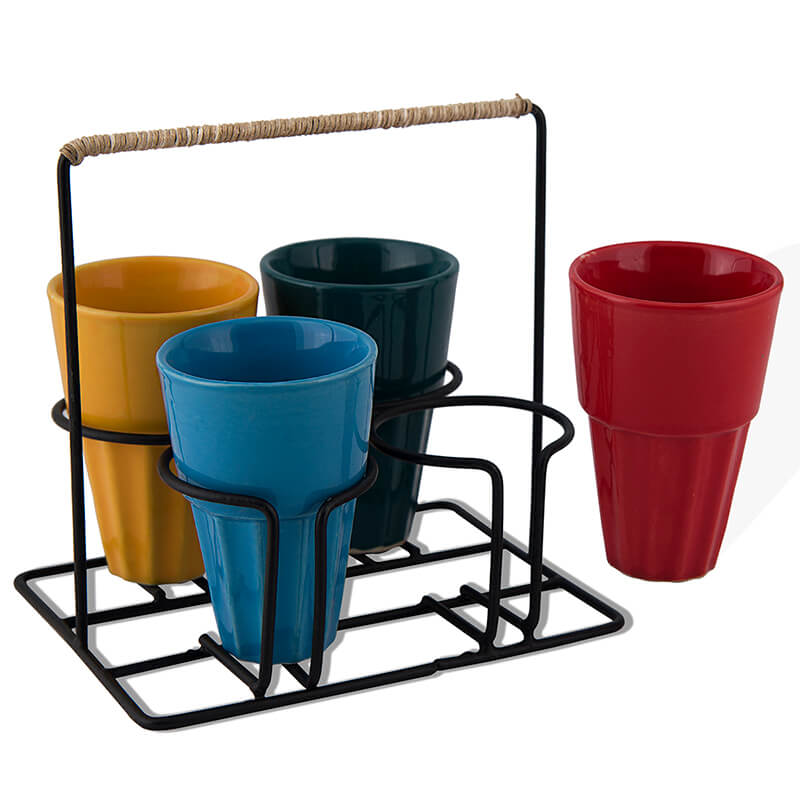 Chai Glass With Stand, Ceramic Chai Glass (4 Glasses), Multicolour