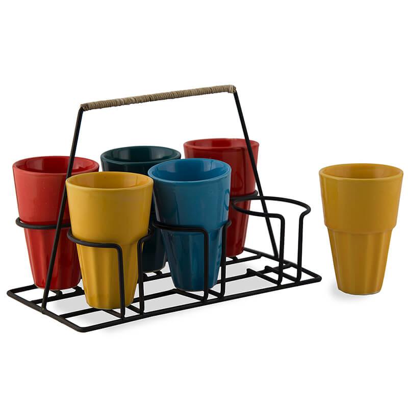 Chai Glass With Stand, Ceramic Chai Glass (6 Glasses), Multicolour