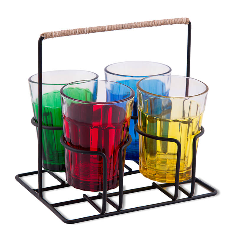 Cutting Chai Glass With Stand, Multicolor Glasses (4 Glasses)