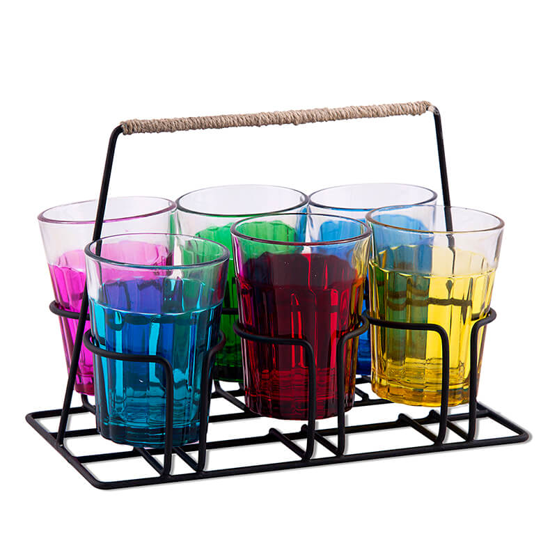 Cutting Chai Glass With Stand, Multicolor Glasses (6 Glasses)