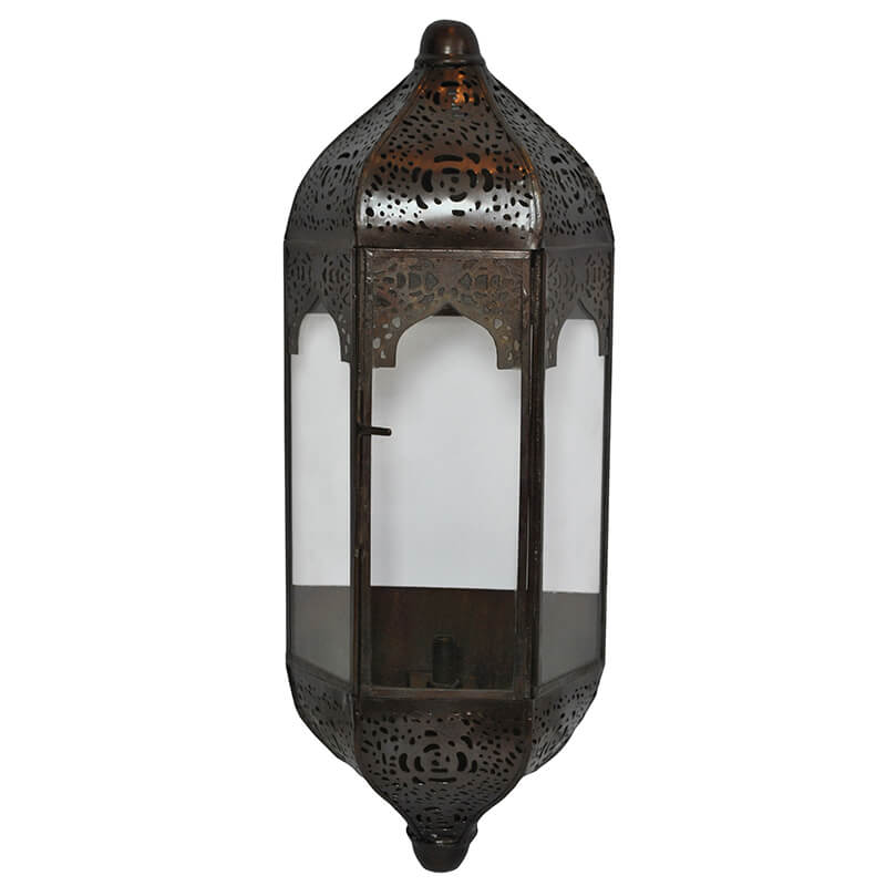 Vintage Moroccan Wall Sconce Lamp, Decorative Door Light, Antique Copper