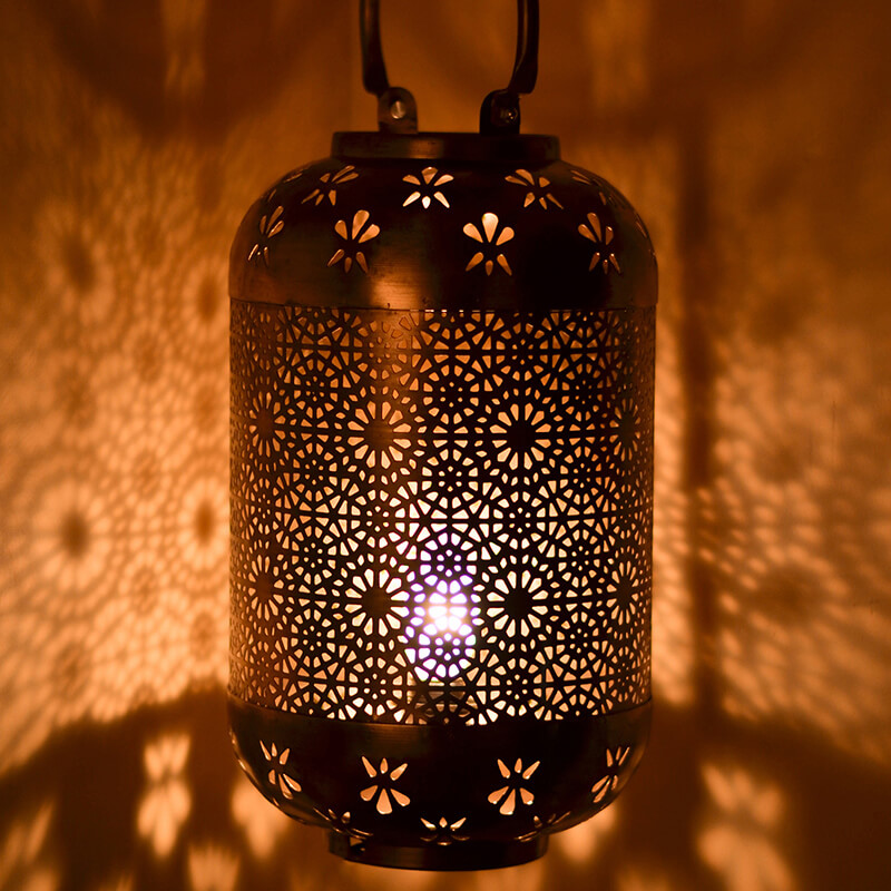 Classic Moroccan Hanging Tub Lamp Golden