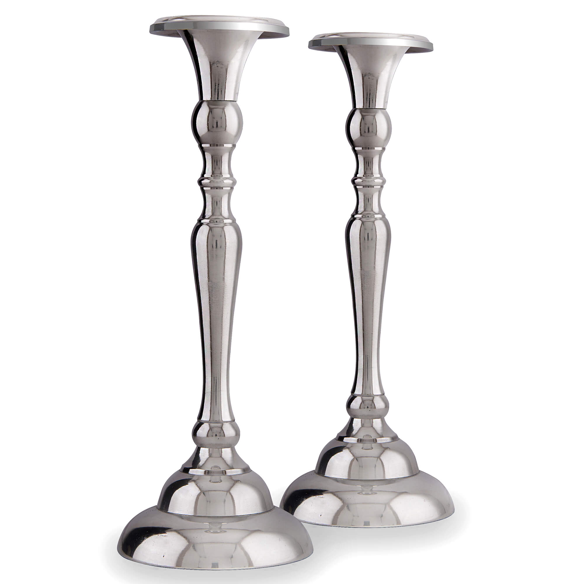 Classic Silver Candle Stand (Set Of 2)