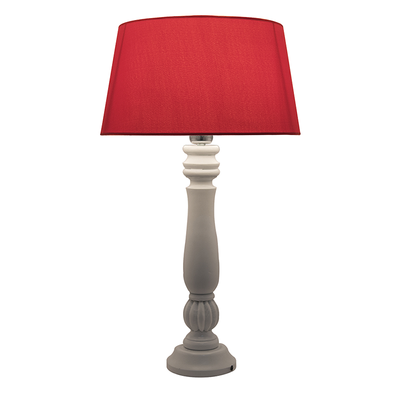 Classic Victorian White Wood Table Lamp With Red Shade