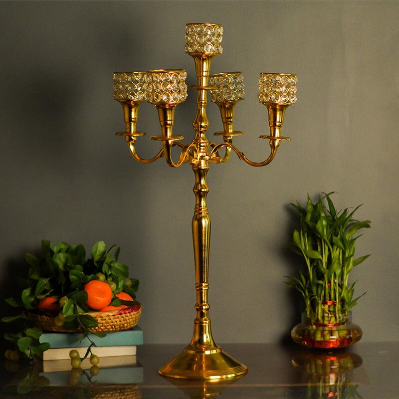 Victorian Golden Crystal Candelabrum, 5 Arms