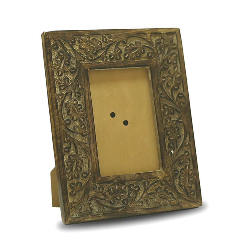 Vintage Black Floral Carving Wooden Photo Frame