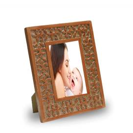 Classic Snowflake Wood Carved Photo Frame, Copper