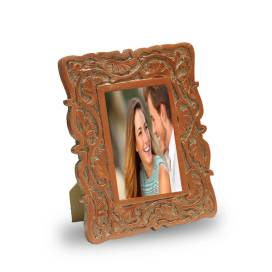 Wood Floral Vines Photoframe, Copper