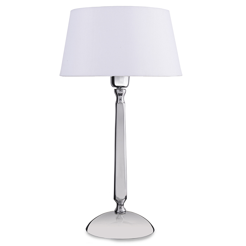 Classic Cubist Chrome Lamp With White Drum Shade