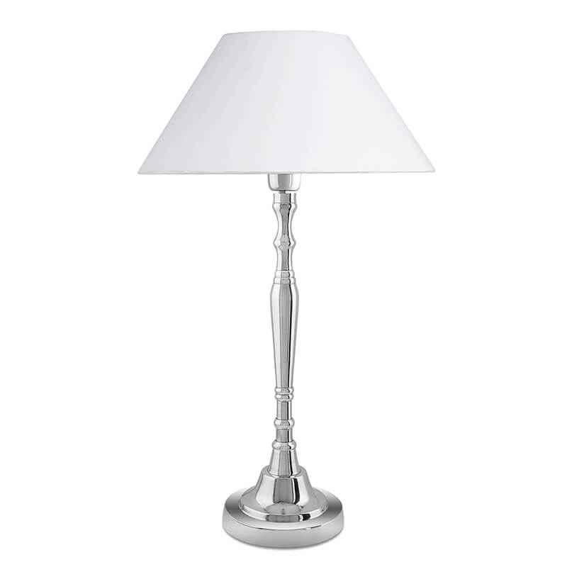 Imperial Nickel Brushed Lamp With White Cone Shade