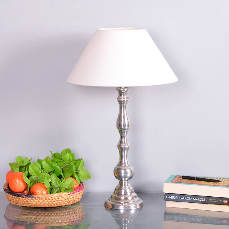 Teardrop Chrome Lamp With White Cone Shade