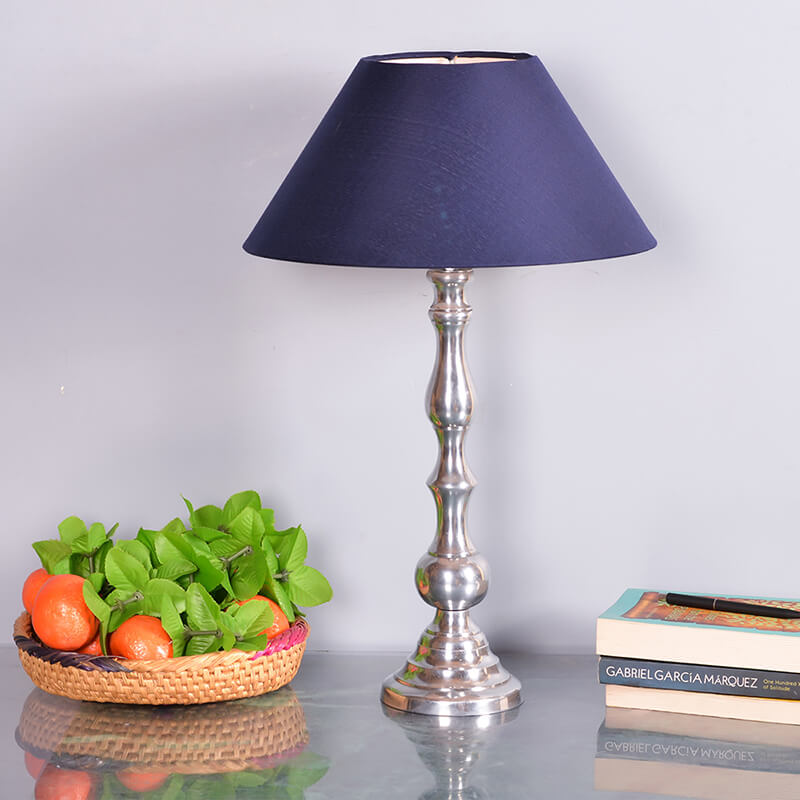Teardrop Chrome Lamp With Blue Shade