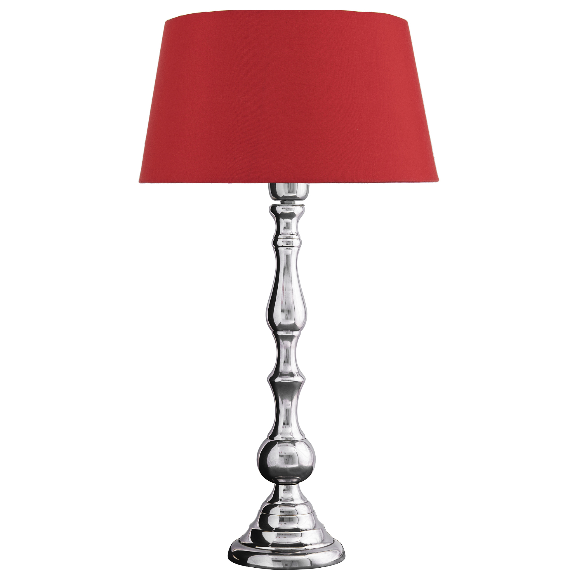 Teardrop Chrome Lamp With Red Shade