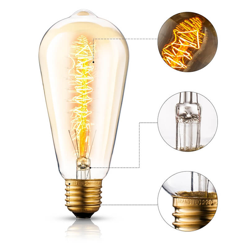 ST64 Pear Shape Edison Filament Bulb Christmas Tree, Antique Edison Tungsten Bulb