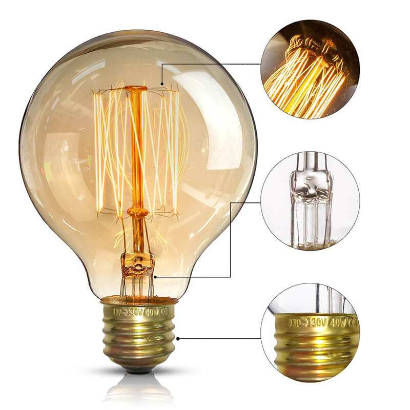 Globe Shape Edison Tungsten Filament Vintage Antique Light Bulb E27 G80